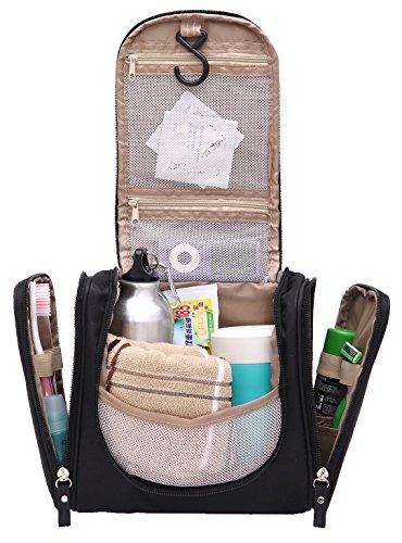 Magictodoor Toiletry Bag Travel Cosmetic Bag Bathroom Case with a Hook, Black