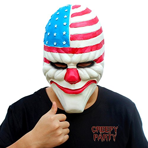 [CreepyParty Deluxe Novelty Halloween Costume Party Latex Head Mask Clown1] (Halloween Clown Masks)