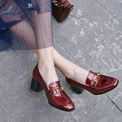 Eeayyygch colore Scarpe A Aperta Molla Rosso Bocca Largo 34 Nero Dimensione Mocassini Vino Casual Tacco Nuovi Con P1TxPr