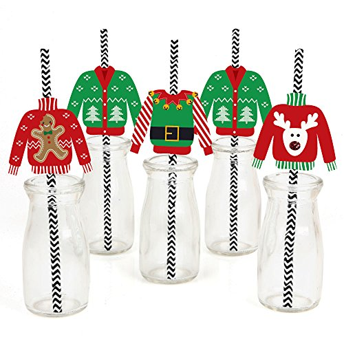Ugly Sweater Paper Straw Decor - Holiday & Christmas Party Striped Decorative Straws - Set of 24 -