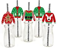 Big Dot of Happiness Ugly Sweater Paper Straw Decor - Holiday and Christmas Party Striped Decorative Straws -