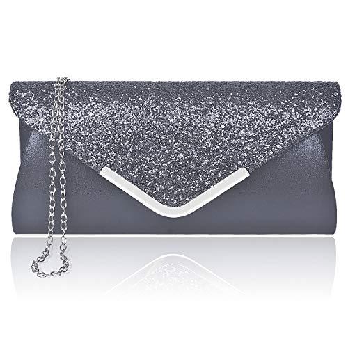 (Larcenciel Women Evening Clutch Sequin Envelope Chain Shoulder Bag Sparkly Evening Wedding Party Prom Purse)