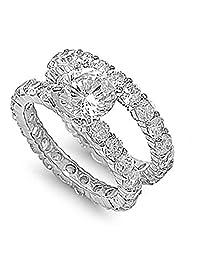 Sterling Silver Eternity Engagement Ring Wedding Band Bridal Set Sizes 5-10