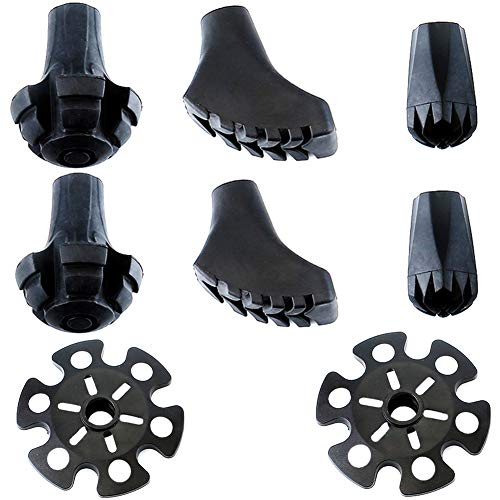 Alafen Replacement Rubber Tips Set for Trekking Poles-4 Paris Heavy-Duty Durable Feet Paws Tips Snow Baskets for Hiking Poles/Walking Sticks