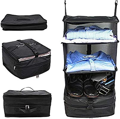 AOLVO - Estantería portátil, Organizador de Maleta, Armario para Colgar, 3 estantes, Plegable, Bolsa de Viaje y Sistema de Organizador de Cubos de ...
