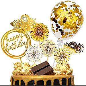 iZoeL Or gâteau Anniversaire décoration Cake Topper, Or Fan Papier Joyeux Anniversaire bannière confettis Ballon feu…