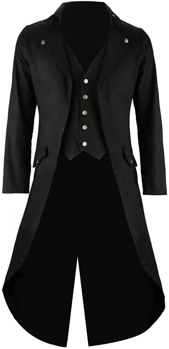 SOLOTIMES Mens Black Tailcoat Jacket Limited price Victorian Steampunk Gothic mart
