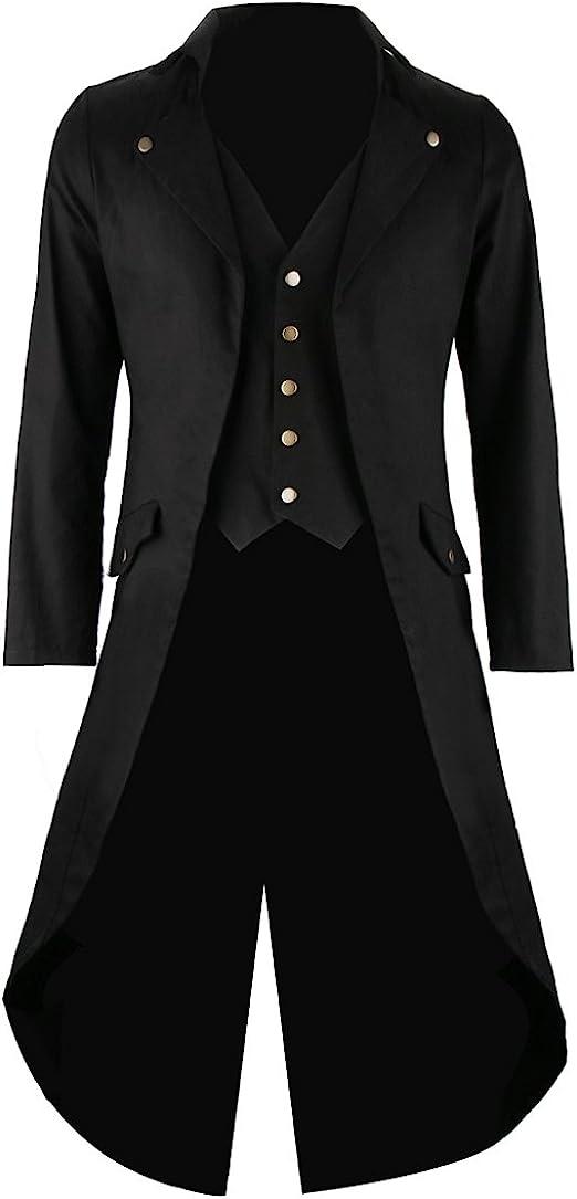 Cusfull Frac para hombre, Abrigos gótico largo para hombre, Levita lleva Chaleco formal, tipo Chaqueta steampunk para caballero ,Abrigo de boda, Traje gótico, Traje de día de noche Lujo negro