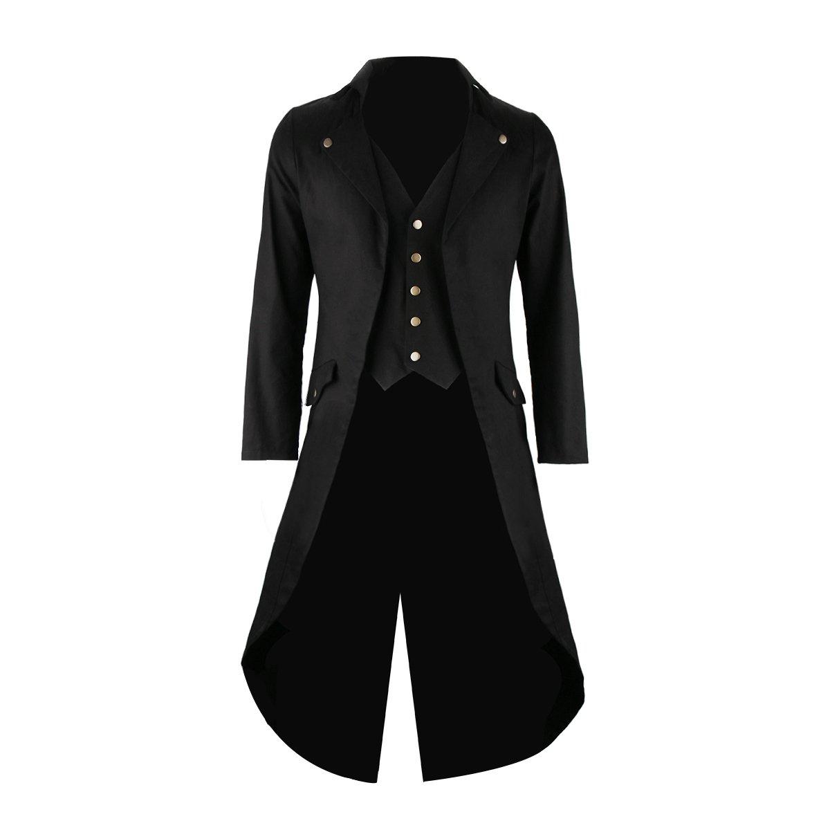 Mens Gothic Tailcoat Tuxedo Jacket Black Steampunk VTG Victorian Costume Long Frock Coat (Small)