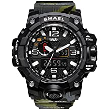 Richermall Men's Sports Analog Quartz Watch Dual Display Waterproof Digital Watches with LED Backlight relogio masculino