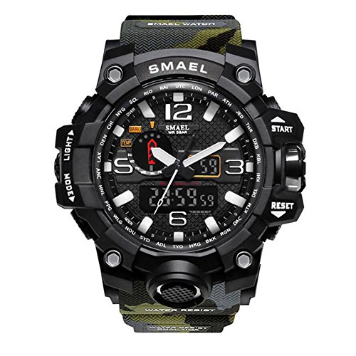 Military Army Camo (SMAEL Men's Sports Analog Quartz Watch Dual Display Waterproof Digital Watches with LED Backlight relogio masculino (Army green-Camo))