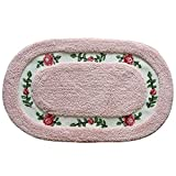 Oval Shaped Decorative Super Soft Floral Design Rural Style Pretty Rose Pattern Non Slip Absorbent Shaggy Area Rug Carpet Doormat Floormat Bath Mat Bathroom Shower Rug (20'' x 32'', Pink)