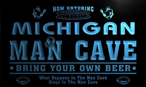 qa2022-b Michigan State Cities Man Cave Football Bar Neon Beer Light Sign