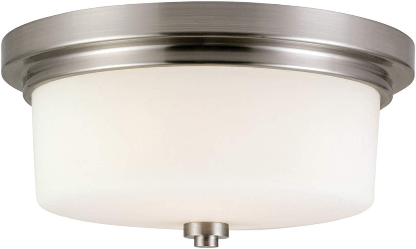 Design House 556654 Aubrey Transitional Indoor Light Dimmable Frosted Glass, 2-Light Ceiling Light, Satin Nickel - -