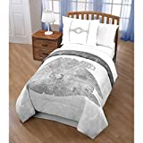 4 Piece Kids White Grey Star Wars The Movie Theme Comforter Full Queen Set, Cool Boys Millennium Falcon TIE War Fighter Bedding, Starwars Emperor Darth Vader Galaxy Force Themed Pattern, Gray Silver