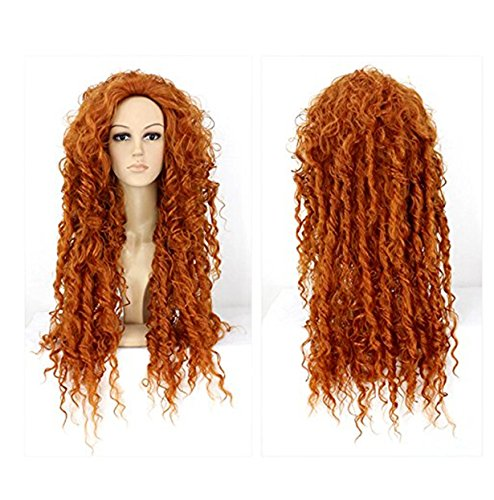 [Cool2day®Perucas Anime Cosplay Long Orange Curly Hair Costume Wig] (Film Inspired Halloween Costumes)