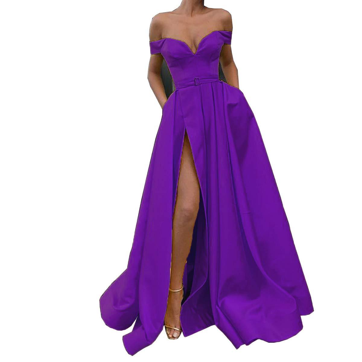 Purple CCBubble Womens Long Satin Prom Dresses Off Shoulder High Slit Formal Evening Wedding Party Dress