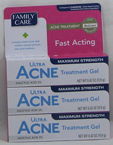 Price comparison product image 3 Pk. Family Care Fast Acting Ultra Acne Treatment Gel with Salicylic Acid 0.42 Oz