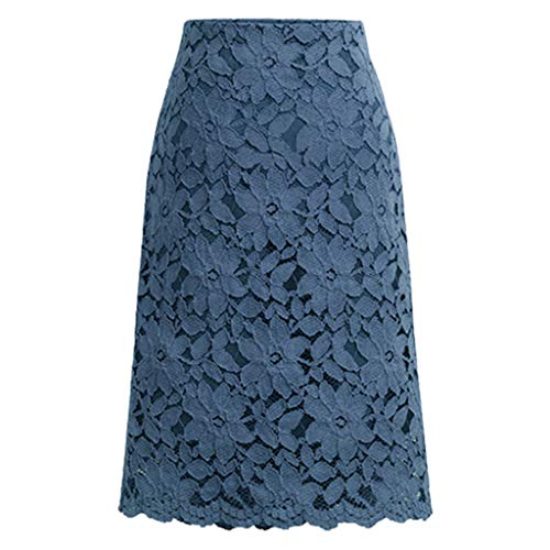 Xiaoa Womens Lace High Waist Pencil Hollow Out Skirts Mesh Maxi Style Tulle Fashion A-Line Dress Long Skirt S-5XL Blue