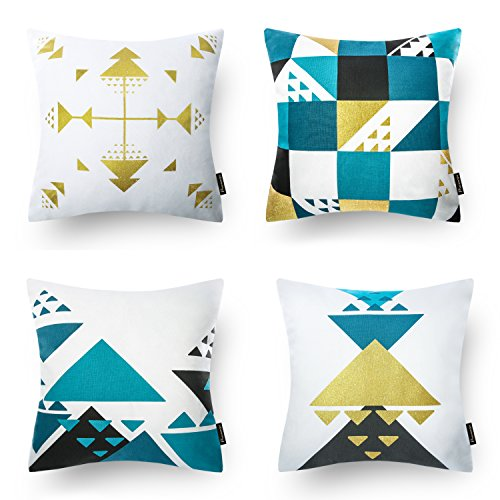 - Phantoscope Set of 4 100% Cotton Blue Gilding Gold Geometric Decorative Throw Pillow Case Cushion Cover 18
