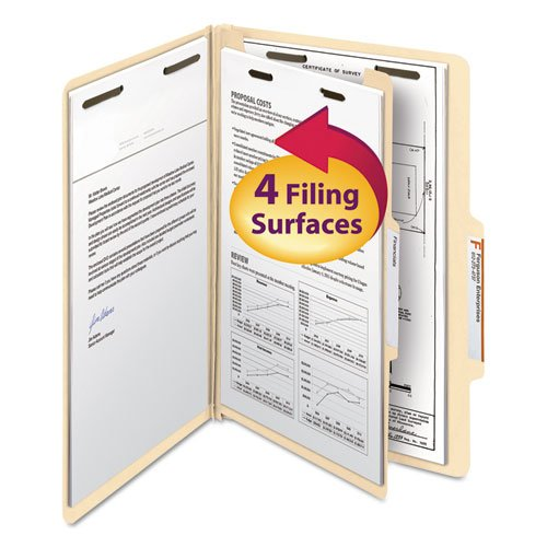Manila Classification Folders with 2/5 Right Tab, Legal, Four-Section, 10/Box, Sold as 10 Each