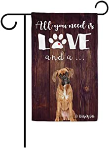 BAGEYOU All You Need is Love and a Dog Boxer Decorative Garden Flag for Outside Cute Puppy Paws Wooden Background 12.5X18 Inch Printed Double Sided
