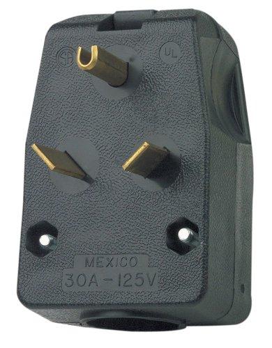 Leviton 830-T 30 Amp, 125 Volt, Travel Trailer Vinyl Grounding Angle Plug, Black