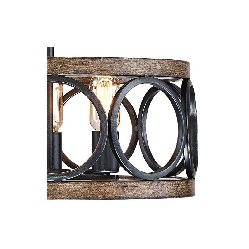 "Salima Rustic Farmhouse Ceiling Light Semi Flush Mount Fixture LED Black Circle Wood Grain 16"" Wide 3-Light Open Drum for Bedroom Kitchen Living Room Hallway Bathroom - Franklin Iron Works"