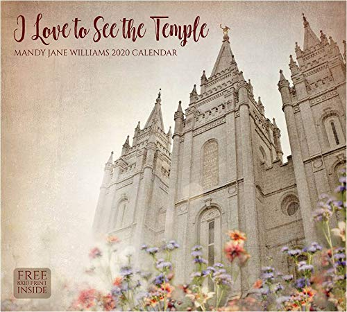 2020 Wall Calendar- Mandy Jane Williams- I Love to See The Temple- 13.375