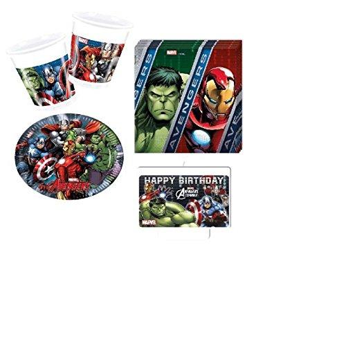 Gran Kit Marvel Avengers 37 Piezas Cumpleaños Fiesta 8 Niños ...