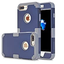 iPhone 7 Plus Case, Asstar 3 in 1 Hard PC+ Soft TPU Impact Protection Heavy Duty Shockproof Full-Body Protective Case for Apple iPhone 7 Plus (Navy)