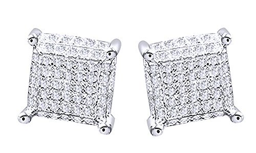Round Cut Natural Diamond Hip Hop Cluster Stud Earrings 14K White Gold Over Sterling Silver (0.87 Cttw) by wishrocks