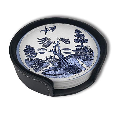 Cup Play Flove Blue Willow Round Tile Paintingmug Coasters Home Set of 6 Pu Leather Decorations Round Holder Beer Pack Car Coasters Mats Placemats Gift Ornament