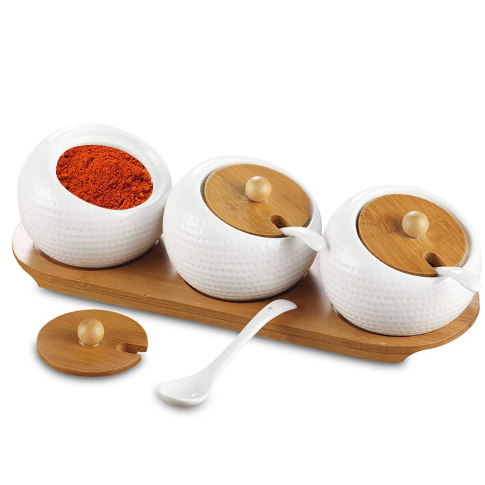 Aogist Porcelain Condiment Pots Spice Container Set of 3 with Ceramic Spoons Bamboo Lids Wooden Tray, Ceramic Seasoning Containers Condiment Jar for Home, Kitchen, Counter White(5.8 OZ)