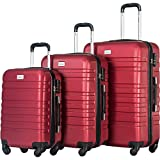 Merax Luggage Set 3 Piece Lightweight Spinner Suitcase (Red)