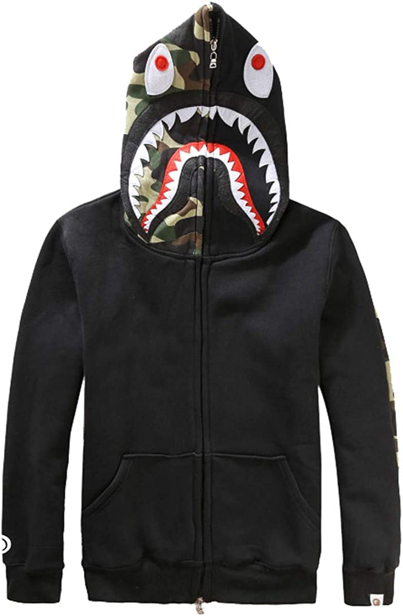 New Men Novelty Hoodies Bathing Ape Bape Jacket Shark Head Full Zip Hoodie Sweater Jacket