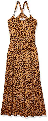 Donna Morgan Women's Spaghetti Strap Animal Print Maxi Dress, Mustard Brown/Black Multi, 6