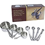 Professional Measuring Cups and Spoons Set for Your Stainless Steel Cookware. Kitchen Utensils with Commercial Grade Quality.