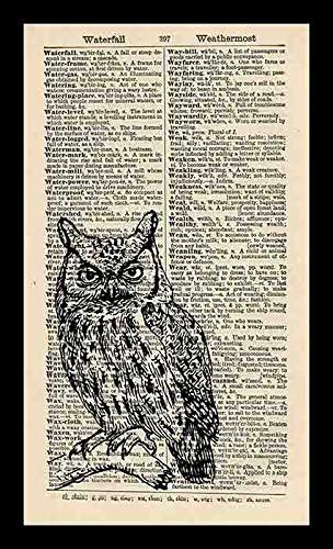19 saijhii Small OWL Art Print Vintage Art Print Animal Art Print Bird Illustration Vintage Dictionary Art Print Wall Hanging Framed 18x12in