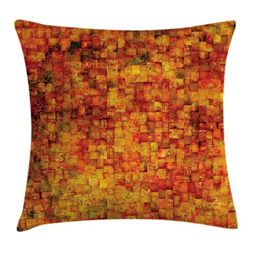 Ambesonne Burnt Orange Throw Pillow Cushion Cover, Vintage Mosaic Background Quadratic Little Geometric Squares Faded Print, Decorative Square Accent Pillow Case, 20 X 20 Inches, Orange Mustard ()