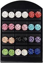 MBOX 12 Pairs Rhinestones Crystal Fireball Disco Ball Ball Stud Earrings, Stainless Steel, Hypoallergenic