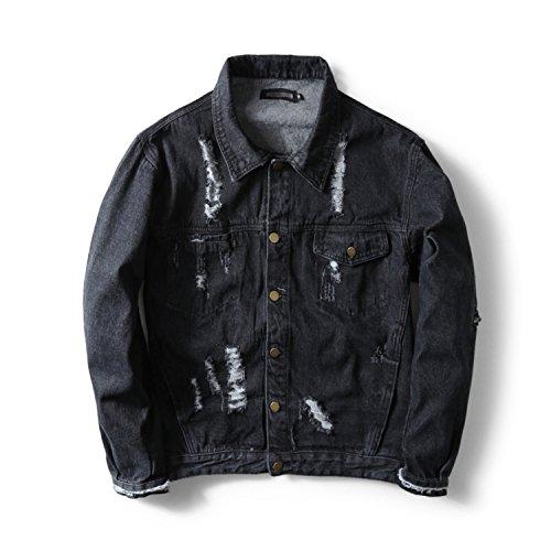 Jeans de Black de Hole Ropa Hombre Ripped Denim Zipper Men Meaningg Ropa Marca Broken Jacket Diseñador 5wq4MzZx