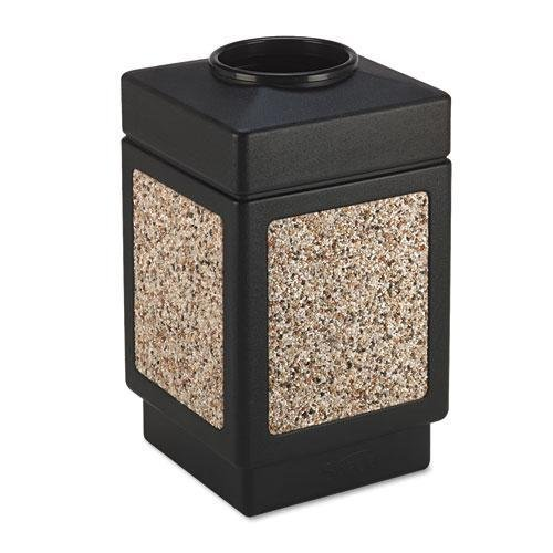 SAFCO PRODUCTS 9471NC Canmeleon Top-Open Receptacle, Square, Aggregate/Polyethylene, 38gal, Black Canmeleon Top Open Receptacle