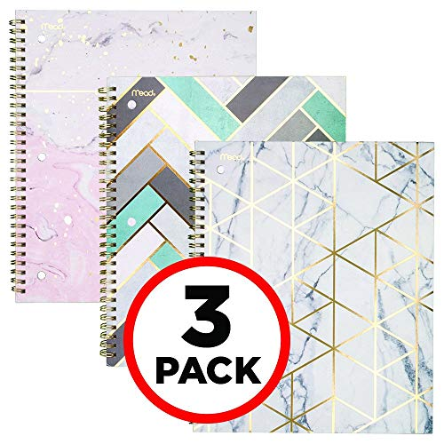 Mead Spiral Notebooks, 1 Subject, College Ruled Paper, 80 Sheets, Modern Chic, 3 Pack (38196) ()