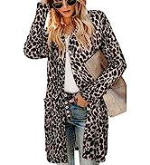 OUGES Women's Leopard Print Button Down Cardigan Shirt with Pockets Long Sleeve Lightweight Coat