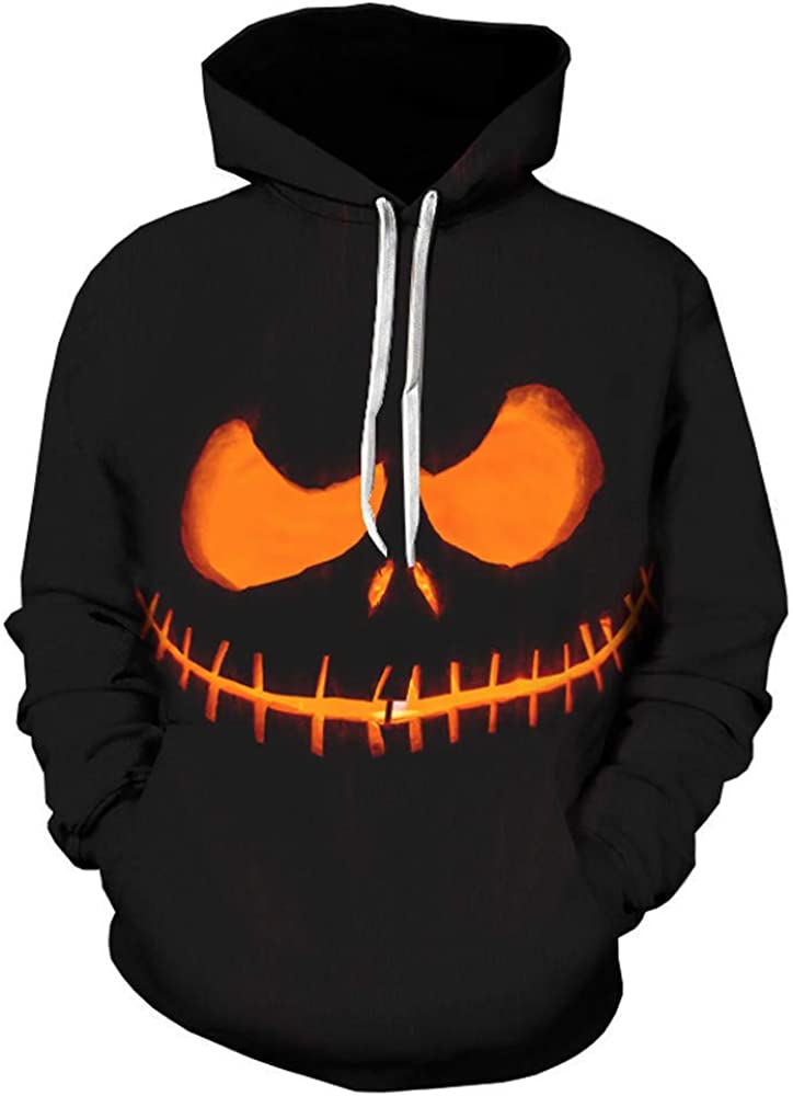 Halloween Grimace//Pumpkin Printing Long Sleeve Pullover Hoodie Tops DEATU Mens Autumn Sweatershirt Sale