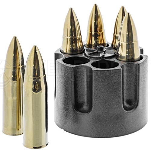 Whiskey Stones Bullets with Base - Gold XL Whiskey Ice Cubes Reusable - Cool Gifts for Men - Set of 6 Whiskey Bullets Stainless Steel in Revolver Base - Chilling Whiskey Rocks Gift Set by Amerigo