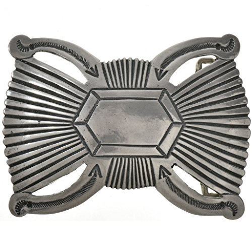 (Old Pawn Style Navajo Belt Buckle Sterling)
