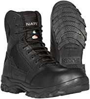 NAT'S S885 Steel Toe Shoes Men - Tactical Boots for Men with Zipper - Slip Resistant, Ultralight (1.8 lbs)