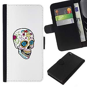 Be-Star la tarjeta de Crédito Slots PU Funda de cuero Monedero caso cubierta de piel HTC DESIRE 816 ( Happy Skull Spring Death White Clean )